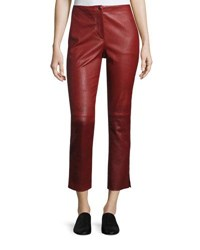 Helmut Lang Straight Cropped Leather Pants Ruby