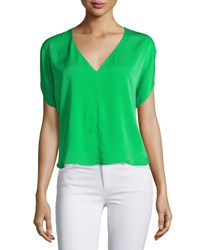 Milly Dolman Sleeve V Neck Top Green