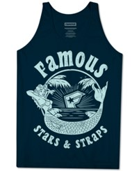 Famous Stars And Straps Men's Mermaid Graphic Print Logo Cotton Tank Navy