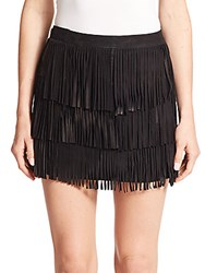 Alice Olivia Lavana Tiered Fringe Suede Mini Skirt Black