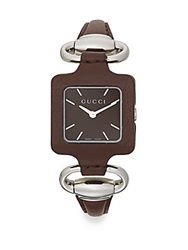Gucci 1921 Square Stainless Steel And Leather Watch