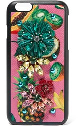 Dolce And Gabbana Embellished Printed Textured Leather Iphone 7 Case Pink