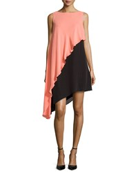 Halston Asymmetric Colorblock Tank Dress Coral Black