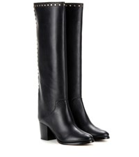 Jimmy Choo Monroe 65 Embellished Leather Knee High Boots Black