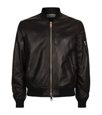 Burberry Ralleigh Leather Bomber Jacket Male Black