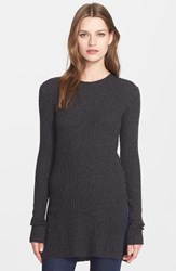 Autumn Cashmere Side Slit Ribbed Cashmere Tunic Pepper