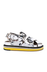 Maison Martin Margiela Mirror Leather Sandals In Metallics