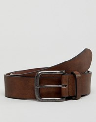 New Look Faux Leather Belt In Mid Brown Mid Brown