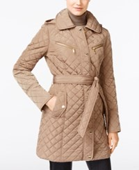 Michael Kors Petite Quilted Trench Coat Truffle