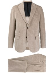 Eleventy Single Breasted Corduroy Suit Neutrals