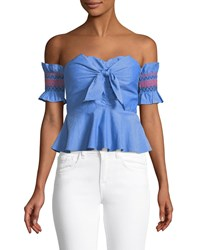 Red Carter Off The Shoulder Bow Front Crop Blouse Blue