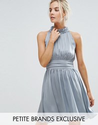 Little Mistress Petite Ruched Pleated Mini Prom Skater Dress Dusty Blue