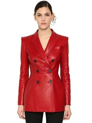Alexander Mcqueen Double Breast Nappa Leather Jacket Red
