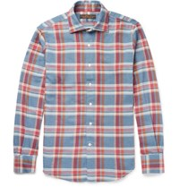 Freemans Sporting Club Slim Fit Cutaway Collar Plaid Cotton Flannel Shirt Blue