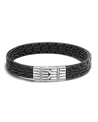 John Hardy Sterling Silver Classic Chain Bracelet With Black Leather Black Silver