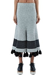 Proenza Schouler Flared Tweed Knit Tassel Skirt White