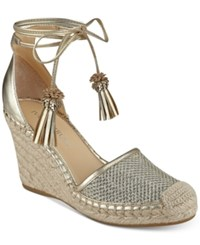 Ivanka Trump Wadia Wedge Espadrilles Women's Shoes Gold Leather