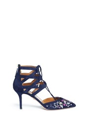 Aquazzura 'Belgravia' Floral Embroidery Caged Suede Pumps Black