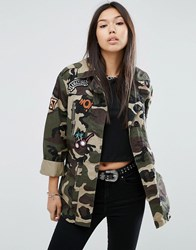 Asos Camo Jacket With Badges Multi