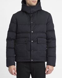 Calvin Klein Navy And Black Mix Material Down Jacket Blue
