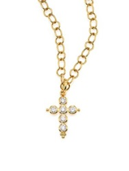 Temple St. Clair Classic Diamond And 18K Yellow Gold Cross Pendant