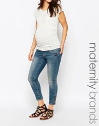 Mama Licious Mamalicious Maternity Jeans With Zip Detail Blue