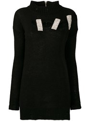 Marco Bologna Embellished Distressed Knitted Sweater Black