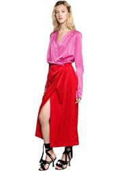 Attico Gabriella Color Block Satin Wrap Dress