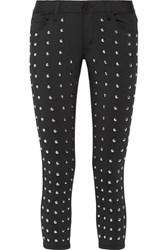 Junya Watanabe Cropped Studded Stretch Skinny Pants Black