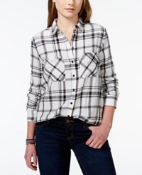 Polly And Esther Juniors' Plaid Button Front Shirt Black White