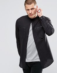 Asos Military Shirt In Black With Buckles And Grandad Collarin Regular Fit Black