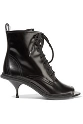 Maison Martin Margiela Lace Up Glossed Leather Ankle Boots Black