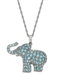 Macy's Sterling Silver Blue Topaz 2 5 8 Ct. T.W. And Diamond Accent Elephant Pendant Necklace