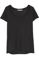 Yummie Tummie By Heather Thomson Ribbed Pima Cotton And Modal Blend Pajama Top Black
