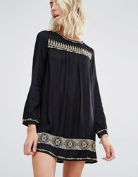 Gat Rimon Rene Long Sleeve Embroidered Mini Dress Noir Black