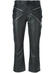 Alexander Wang Cropped Calf Leather Trousers Black