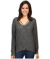 Lna Deep V Strappy Hoodie Melange Grey Women's Sweatshirt Blue