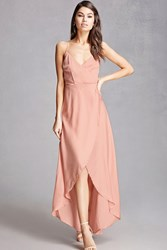 Forever 21 Satin Surplice Maxi Dress Blush