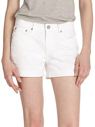 Ag Jeans Hailey Rolled Ex Boyfriend Shorts White Distress