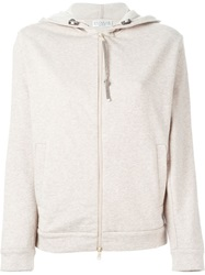 Brunello Cucinelli Zipped Hoodie Nude And Neutrals