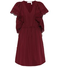 See By Chloe Lace Trimmed Cotton Dress Red