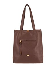 Lodis Madia Leather Tote Dark Brown