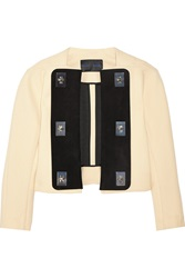 Proenza Schouler Suede Trimmed Crepe Jacket White