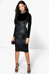 Boohoo Embellished Collar And Cut Out Detail Midi Dres Black