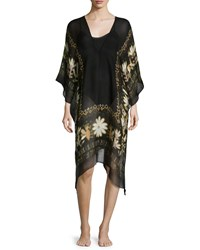 Sheer Caravan Floral Trim Linen Blend Caftan Coverup Black Black Multi Theodora And Callum