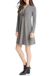 Karen Kane Taylor Surplice Neck Swing Dress Dark Heather Grey