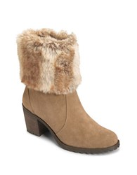 Aerosoles Incognito Suede Faux Fur Cuff Ankle Boots Taupe