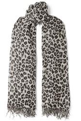 Chan Luu Fringed Leopard Print Cashmere And Silk Blend Scarf Gray