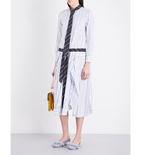 Thom Browne Tiered Pure Cotton Shirt Dress Blue
