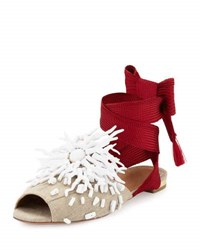 Aquazzura Madagascar Embellished Ankle Wrap Flat Red White Red White